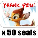 "50 Bambi Thank You Envelope Seals / Labels / Stickers, 1"" by 1.5"""