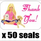 "50 Barbie Thank You Envelope Seals / Labels / Stickers, 1"" by 1.5"""