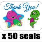 "50 Barney and Baby Bop Thank You Envelope Seals / Labels / Stickers, 1"" by 1.5"""