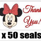 "50 Minnie Mouse Thank You Envelope Seals / Labels / Stickers, 1"" by 1.5"""