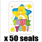 "50 Care Bears Funshine Thank You Envelope Seals / Labels / Stickers, 1"" by 1.5"""