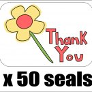 "50 Simple Flower Thank You Envelope Seals / Labels / Stickers, 1"" by 1.5"""