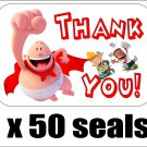 "50 Captain Underpants Thank You Envelope Seals / Labels / Stickers, 1"" by 1.5"""