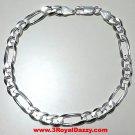 "Men Women Children Solid Sterling Silver Italian Figaro Link Bracelet 6.5mm 9"""