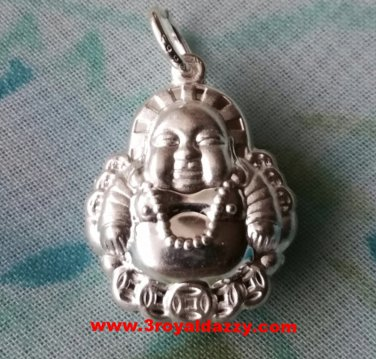 Exquisite Happy Reversible Buddha .999 Solid Silver Hollow Pendant