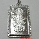 Guanyin Guankuan Goddess Buddha Solid fine Silver Rectangle Meditation Pendant