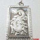Chinese Zodiac Horoscope 999 fine Silver Large Rectangle Year of Dragon Pendant