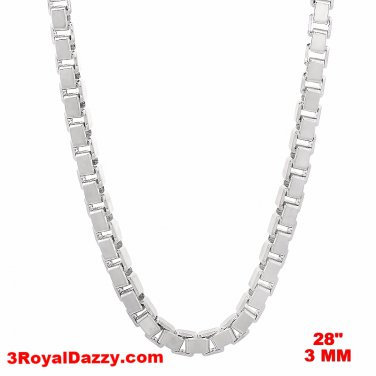 Italy 14k white gold layered over Solid 925 sterling silver Box Chain - 3 mm 28""