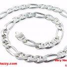 "Solid Very HEAVY & THICK Figaro Marina .925 Anti-Tarnish Silver Chain- 11mm 24"""