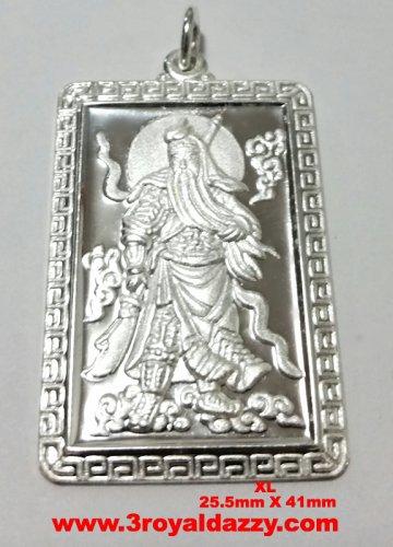 XL- Lord Guan Yu / Guan Gong God of War 999 fine solid Silver Rectangle Pendant