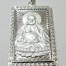XL Happy Male Buddha 999 fine Solid Heavy Silver Rectangle Meditation Pendant