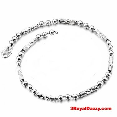 "Women Children Handmade solid .990 Fine Silver round Ball & Bar Bracelet 4 mm 8"""