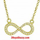 14k Yellow Gold on 925 Sterling Silver Womens Girls Cz Infinity Symbol Pendant