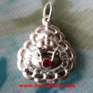 Smiling With Red Jewel Reversible Buddha 999 Solid Silver Hollow Pendant