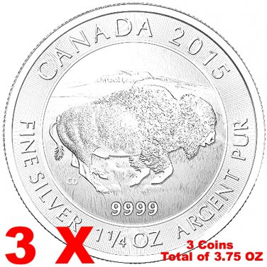(3) 2015- 1.25 oz Canadian Bison 9999 pure Silver $8 Coin Brilliant Uncirculated