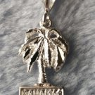 Bahamas Exotic Palm Tree .925 Anti Tarnish Solid Sterling Silver Pendant