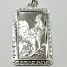 Chinese Zodiac Horoscope 999 fine Silver Rectangle Year of Rooster Pendant charm