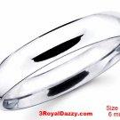 Italy Anti tarnish 925 silver high polish plain wedding band ring 6mm Size11