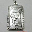 Chinese Zodiac Horoscope 999 fine Silver Rectangle Year of Ox Pendant charm