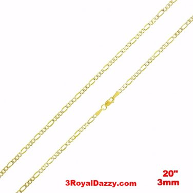 "Italian diamond cut 14k white & yellow gold layer over Silver Figaro- 3mm- 20"""