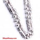 "Men Women Handmade solid .990 Fine Silver Ball & Bar Necklace Chain - 4 mm 24"""