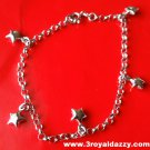 18k white gold layer on Solid 925 Silver dangling hollow stars charms brecelet