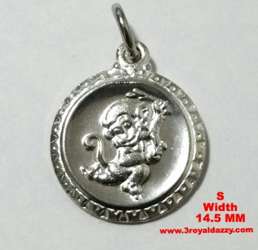 Small Chinese Zodiac Horoscope 999 fine Silver Round Year of Cute Monkey Charm