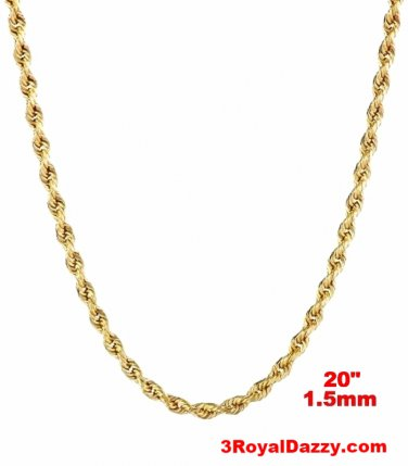 Italy 14k yellow gold layer on 925 Sterling Silver Classic Rope Chain- 1.5MM 20""