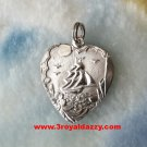 Great Fortune Chinese Greetings 925 Sterling Silver Heart Pendant charm