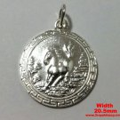 Chinese Zodiac Horoscope 999 fine Silver Round Year of Horse Pendant charm