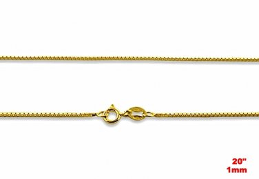 """1 mm box chain - 20""""- Italian 14k yellow gold layered over .925 sterling silver"""