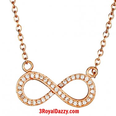 New 14k Rose Gold on 925 Sterling Silver Womens Girls Cz Infinity Symbol Pendant