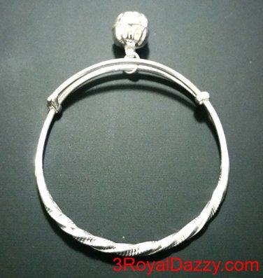 New Handmade 925 Solid Silver Round Twist & Bell Newborn Baby Adjustable Bangle