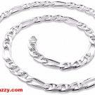 "New Italy Solid Heavy Figaro Marina Anti-Tarnish Silver Chain Necklace-6.5mm 20"""