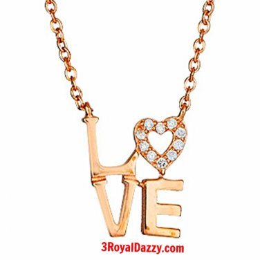 """14k Rose Gold on 925 Sterling Silver Womens Girls """"Love"""" Heart Letters Necklace"""