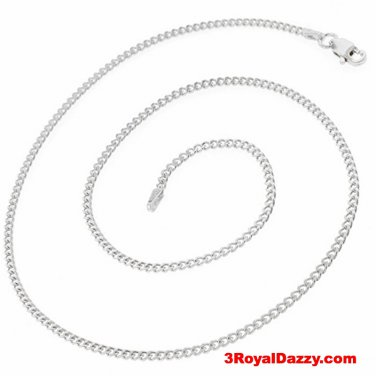 Precious Italian Solid Sterling Silver Anti-Tarnish Curb link Chain 2.2 MM 16 ""