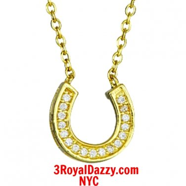 New 14k Yellow Gold layer on Solid Silver Crystal CZ Horseshoe Pendant Necklace