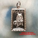 Chinese Lunar Zodiac 999 fine Silver Rectangle Year of Dog Pendant charm Small