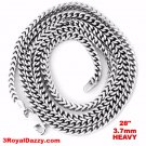 """14k White gold Layer on Heavy 925 Solid Silver Square Franco Chain- 3.7mm - 28"""""""