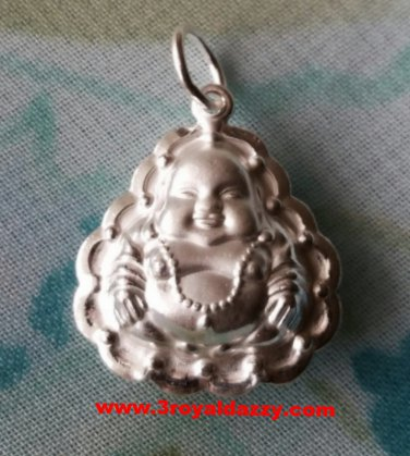 Cheerful Dainty New Year Buddha .999 Solid Silver Hollow Pendant