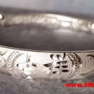 Handmade Chinese Lucky Dragon Phoenix 999 Solid Fine Silver Adjustable Bangle