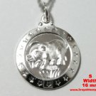 Small Chinese Zodiac Horoscope 999 fine Silver Round Year of Boar / Pig Pendant