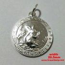 Chinese Zodiac Horoscope 999 fine Silver Round Year of Rabbit Pendant charm