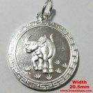 Chinese Zodiac Horoscope 999 fine Silver Round Year of Ox Pendant charm