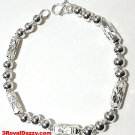 New Handmade Men solid 990 Fine Silver Round Hollow Ball & Bar Bracelet 6 mm 9""