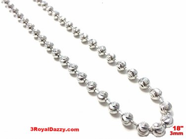 18k white gold layered over .925 sterling silver moon cut chain 3 mm 18 ""