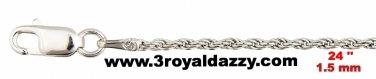 "Precious Italian .925 Sterling Silver Fashion  Classic Rope Chain 1.5 MM 24 """