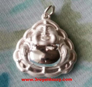 Graceful Buddha With Lotus on back .999 Solid Silver Hollow Pendant