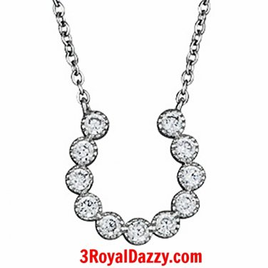 14k white Gold layer on Solid 925 Silver Crystal CZ Horseshoe Pendant Necklace
