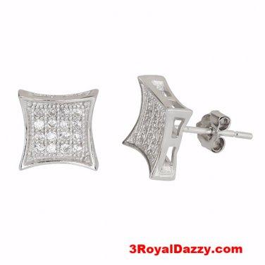 14k White gold layer Medium size Square kite .925 Silver Micro Pave Cz Earring